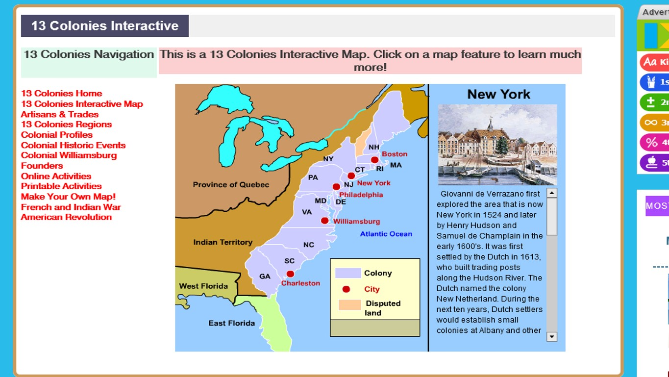 mr nussbaum s website has a fun little interactive map that students can explore to learn about this history of the colonies as well as the major cities in