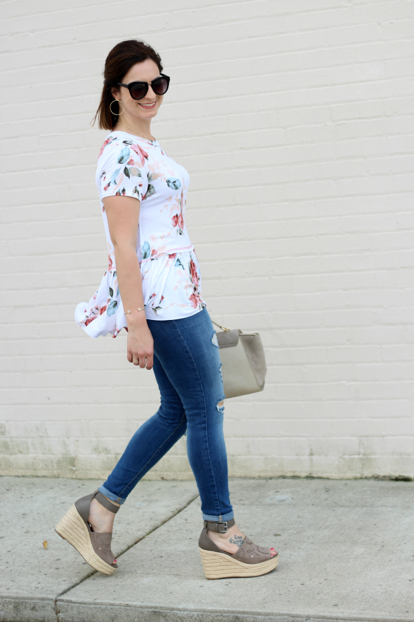 gray monroe, spring style, floral peplum top, affordable fashion, style on a budget