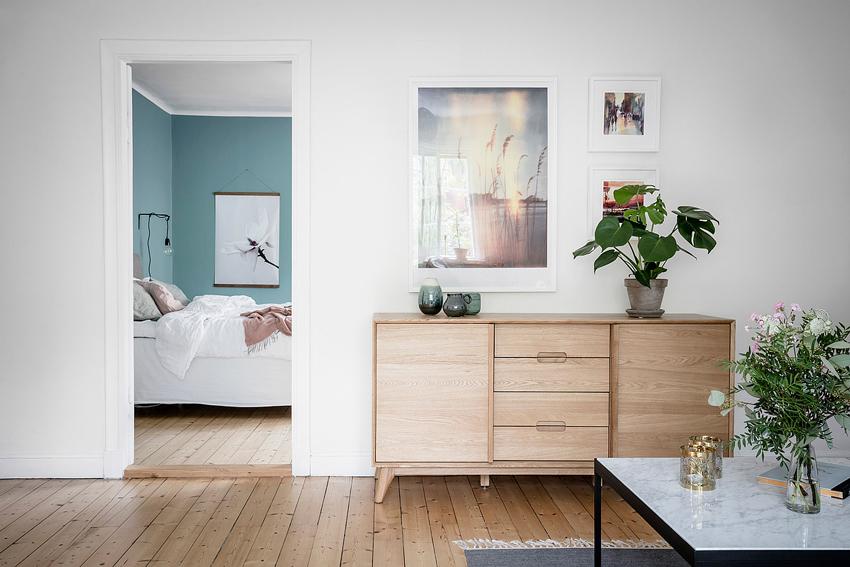 dormitorio pintado en azul