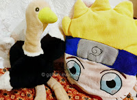 Animal and cartoon stuffed, oastrich and naruto