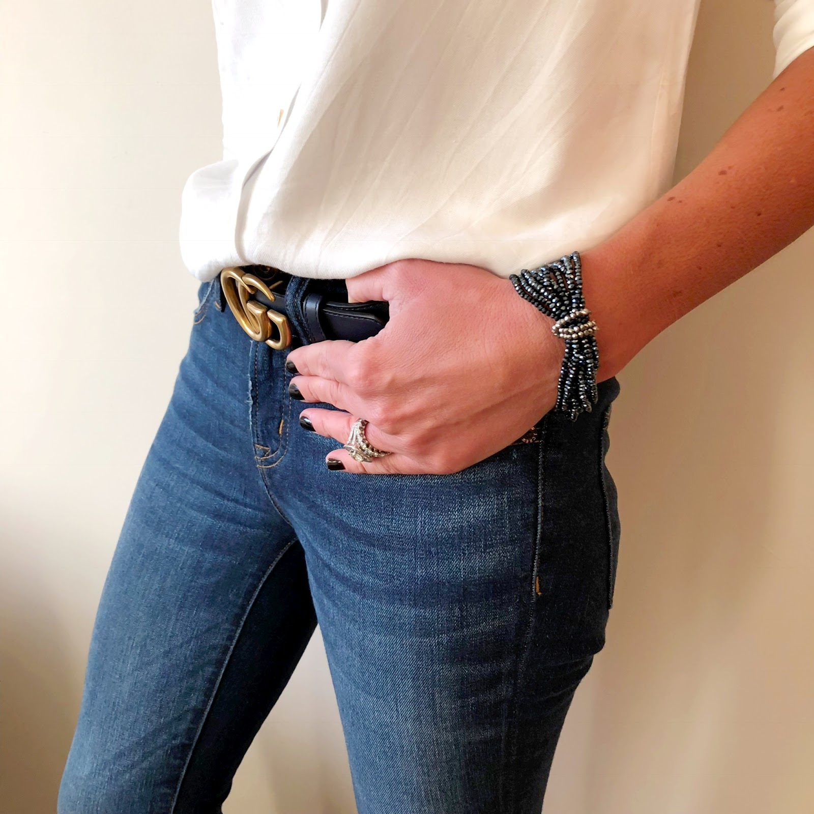 """my midlife fashion, olia jewellery, olia jewellery drew necklace, olia jewellery fiona bracelets, baukjen coco shirt, j crew 9"""" toothpick skinny jeans, gucci double G belt"""