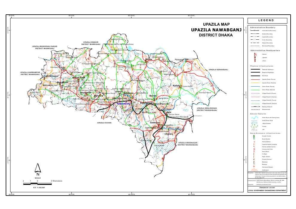 Nawabganj Upazila Map Dhaka District Bangladesh