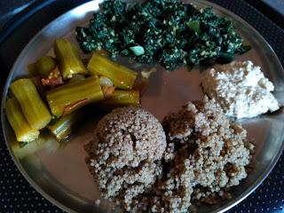 Kodo millet rice, Drumstick curry, Ponnaanganni greens poriyal, Coconut chutney