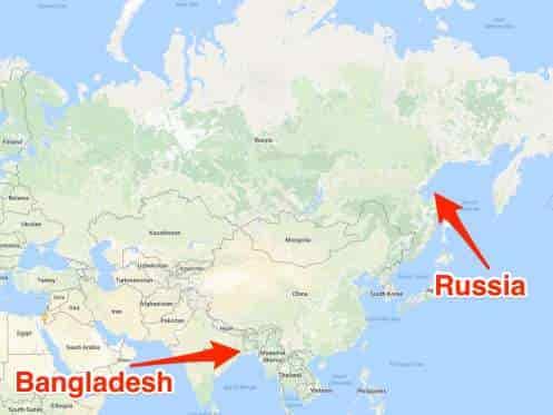 Lebih banyak orang tinggal di Bangladesh daripada di Rusia