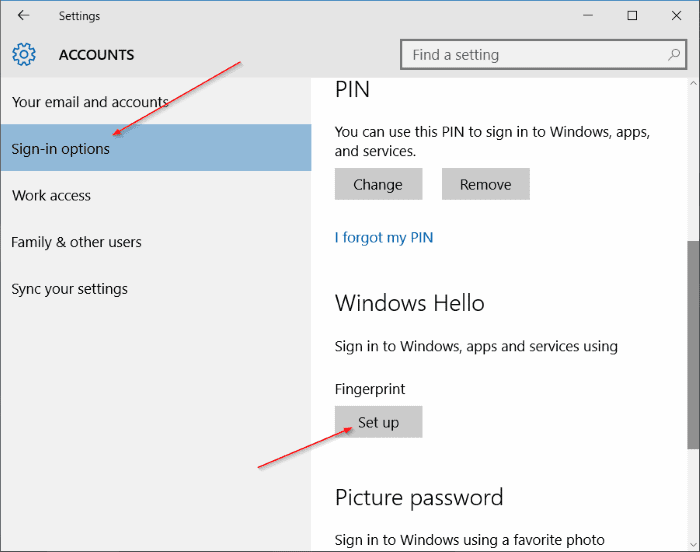 Use fingerprint to sign in to Windows 10 5 thumb