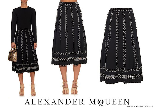 Crown Princess Mary wore Alexander McQueen Contrast-trimmed A-line Skirt