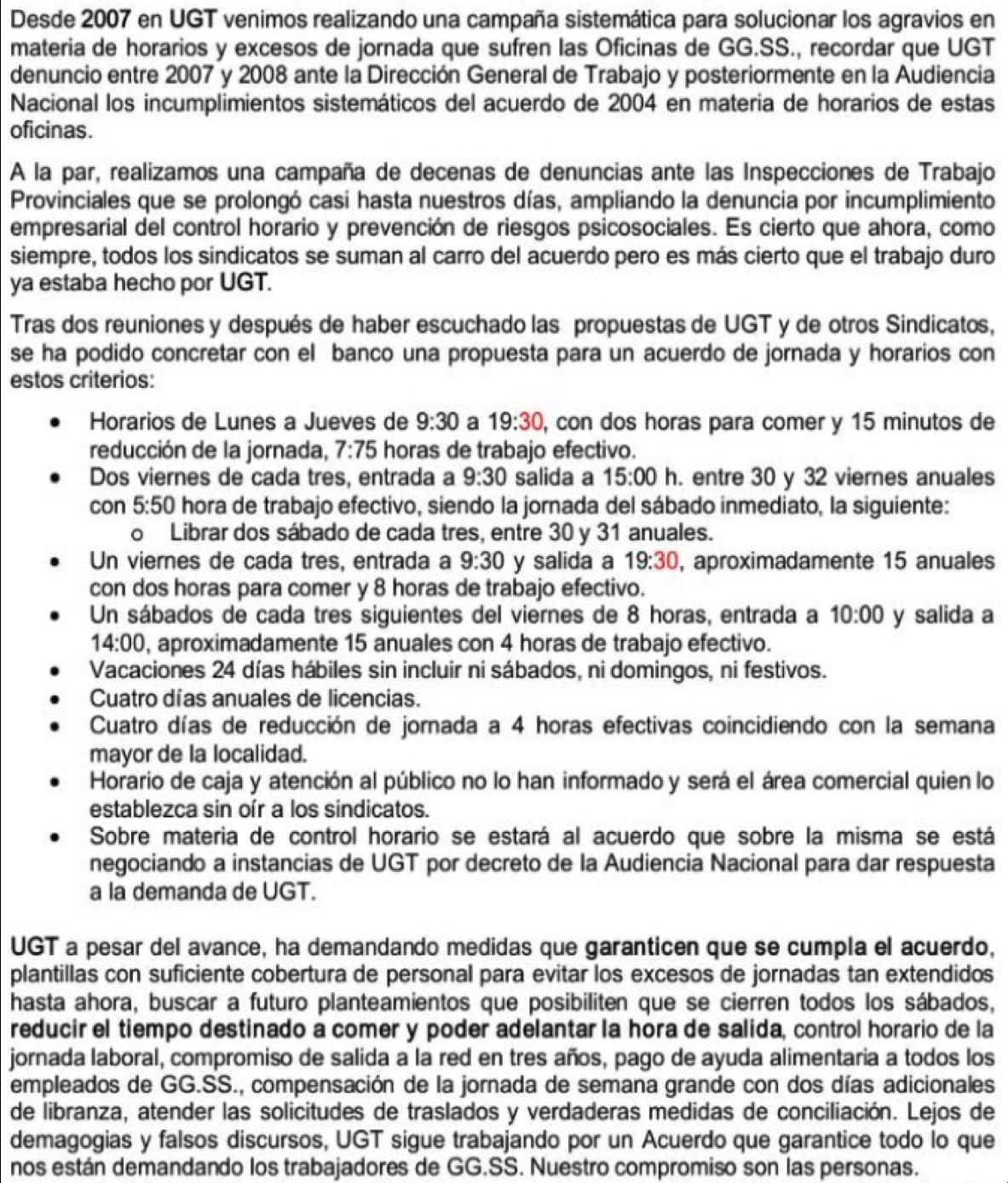 Ugt banco santander catalunya horarios grandes for Horario oficinas banco santander barcelona