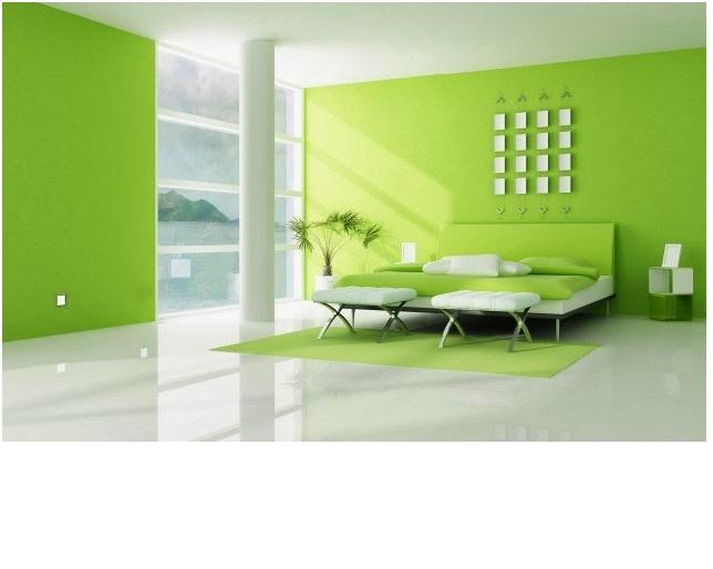 Perpaduan Warna Hijau Ruang Tamu