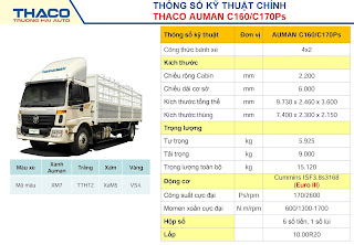 Bảng thông số kỹ thuật xe Thaco C160 tại Hải Phòng