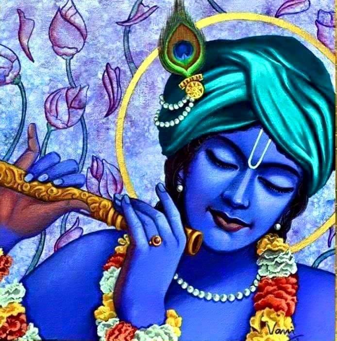 Lord krishna colored sketch hd profile wallpaper