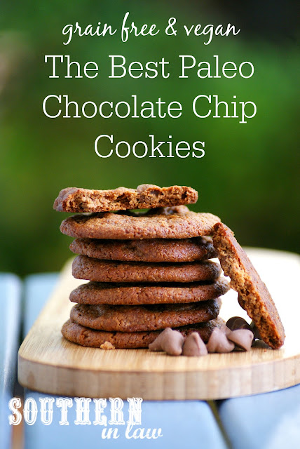 The Best Paleo Chocolate Chip Cookies Recipe - grain free, flourless, gluten free, vegan, egg free, dairy free, sugar free, clean eating recipe, nut free option, healthy, simple, easy