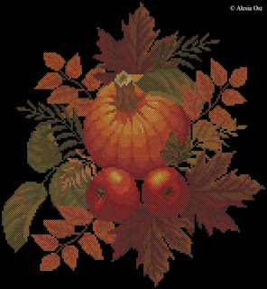 Free cross-stitch patterns, Autumn Symphony, floral, autumn, fruits and vegs, pumpking, cross-stitch, back stitch, cross-stitch scheme, free pattern, x-stitchmagic.blogspot.it, вышивка крестиком, бесплатная схема, punto croce, schemi punto croce gratis, DMC, blocks, symbols
