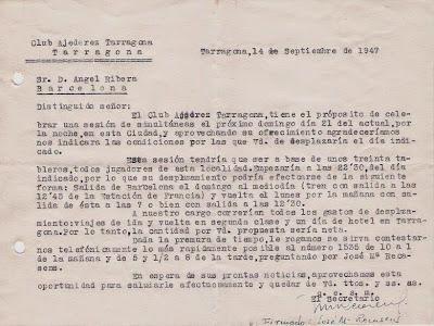 Carta del Club Ajedrez Tarragona en 1947