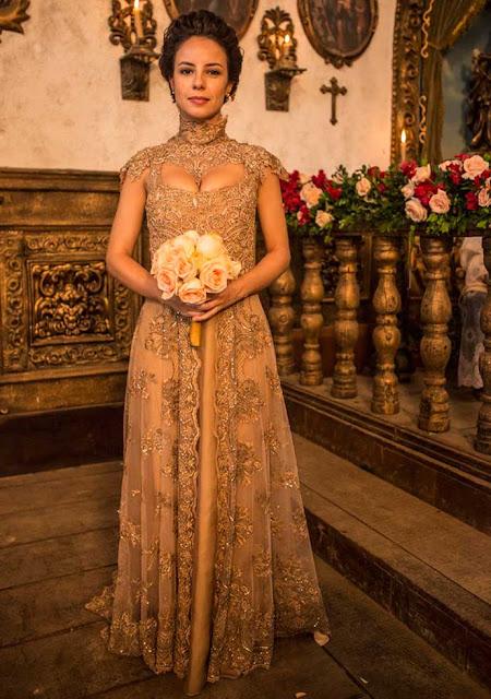 Rosa Joaquina (Andrea Horta), figurino, vestido de noiva, Liberdade Liberdade