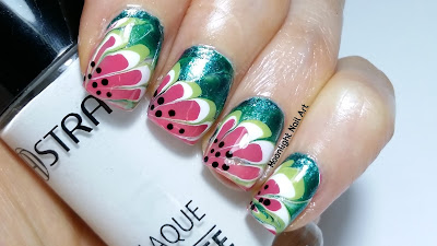 Watermelon Dry Marble Nail Art