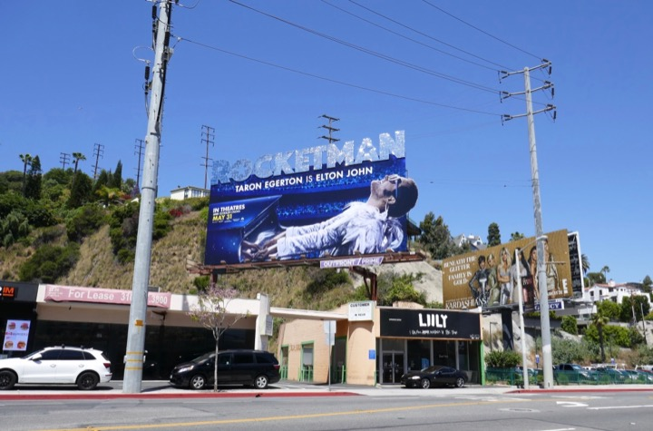 Glittering Rocketman film billboard