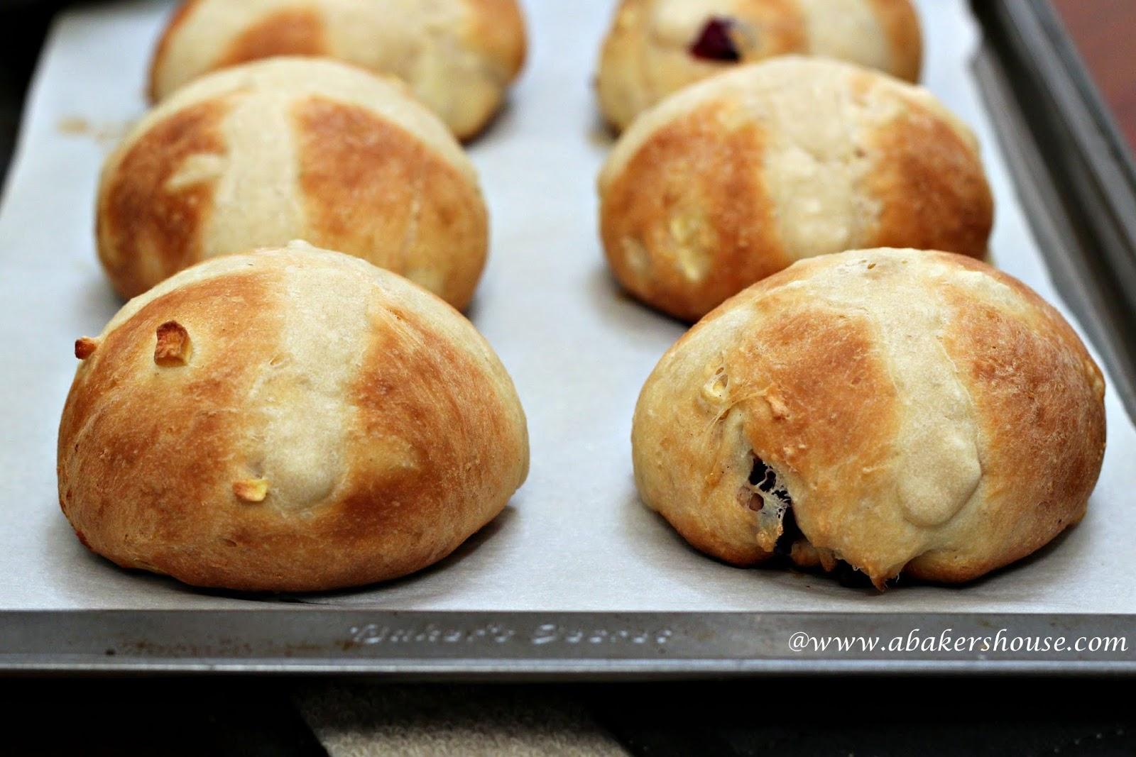 Up close view of homemade hot cross buns