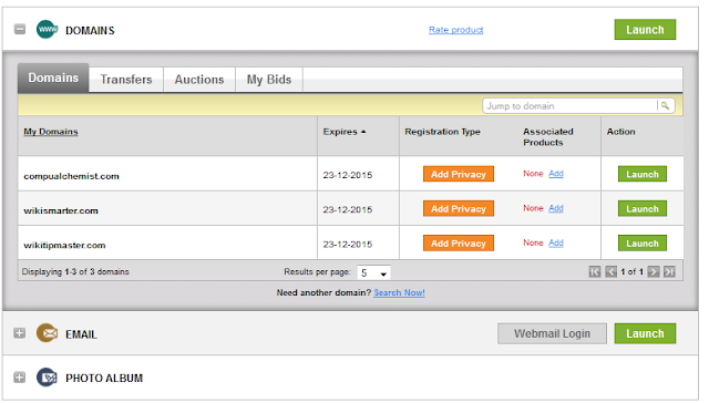 Godaddy My Domains screen