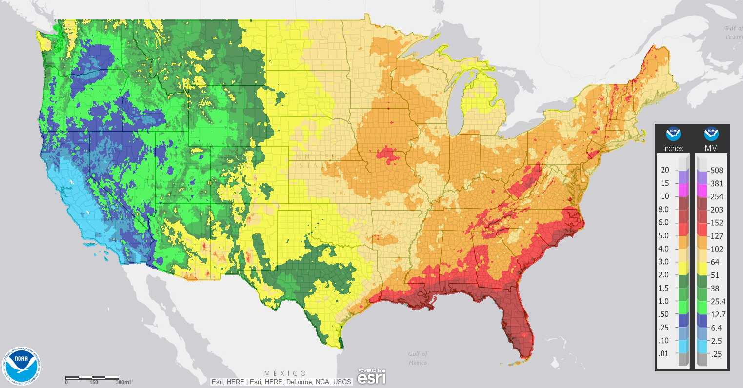 Average July precipitation in the contiguous U.S.