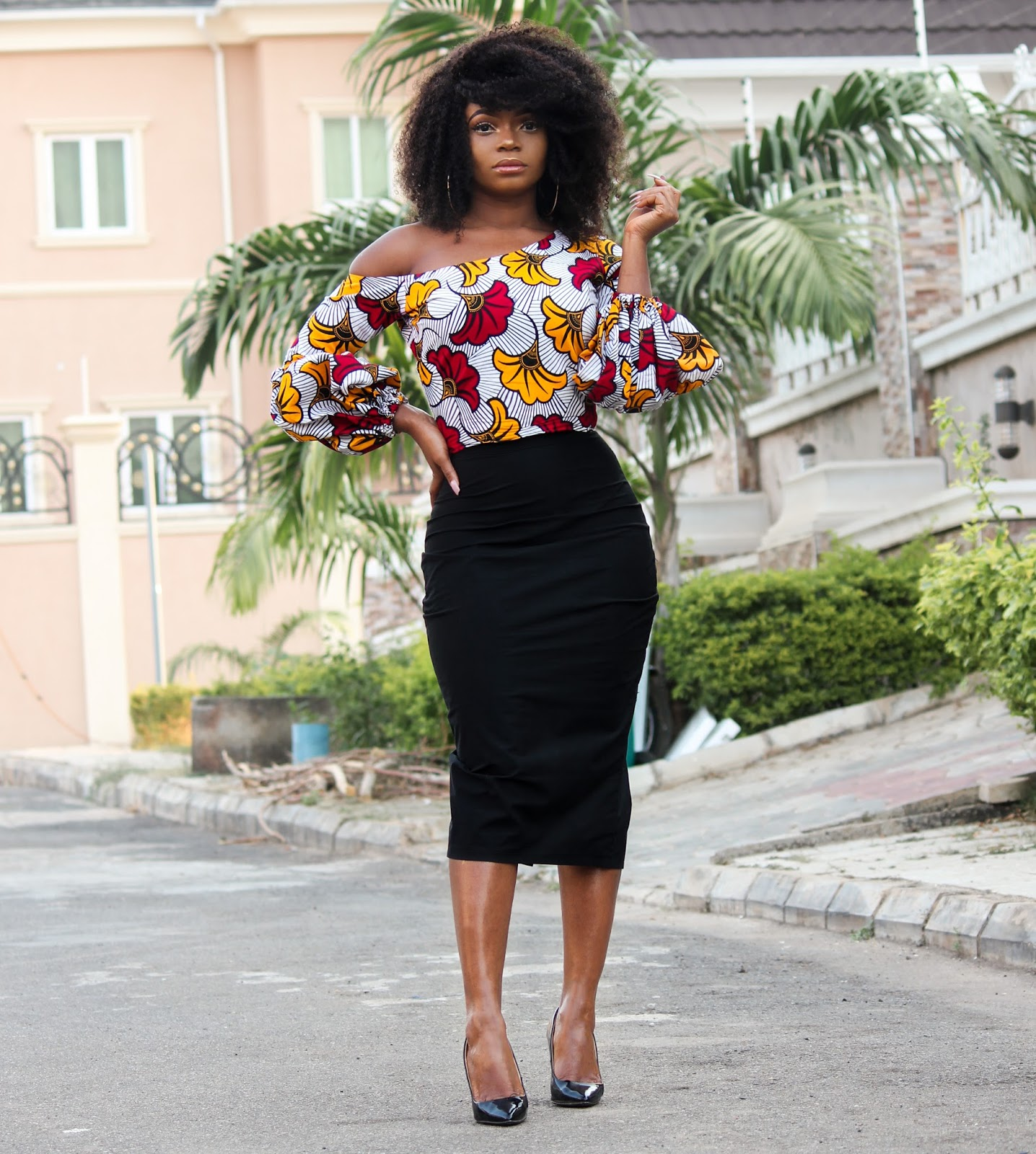 ANKARA TOP + BLACK MIDI SKIRT - Ankara 'Kpotuba' Print Skewed Neckline Top with Black Midi Skirt