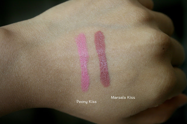 Honest Beauty Demi Matte Truly Kissable Lip Crayons in Peony Kiss and Marsala Kiss Swatches