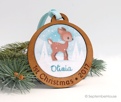 Baby's First Christmas Ornament Personalized Deer Ornament by SeptemberHouse