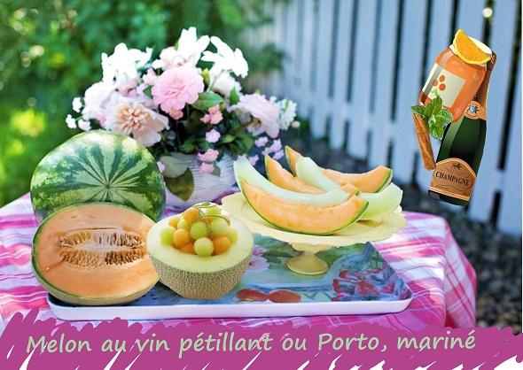Melon au vin mariné à la confiture d'orange, menthe, cannelle (sans gluten, vegan)