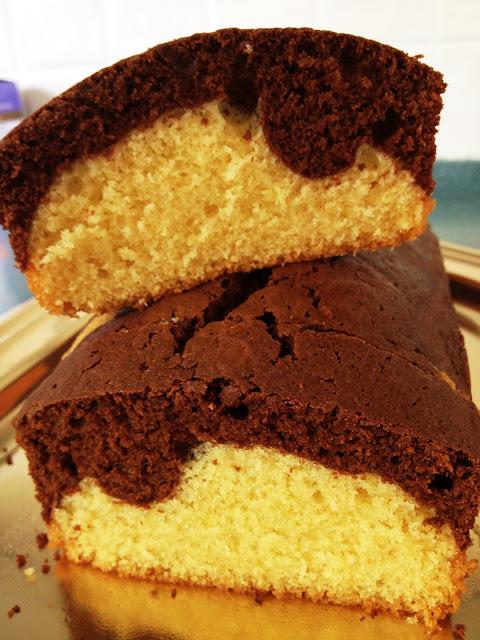 gâteau marbré, vanille, chocolat, rhum