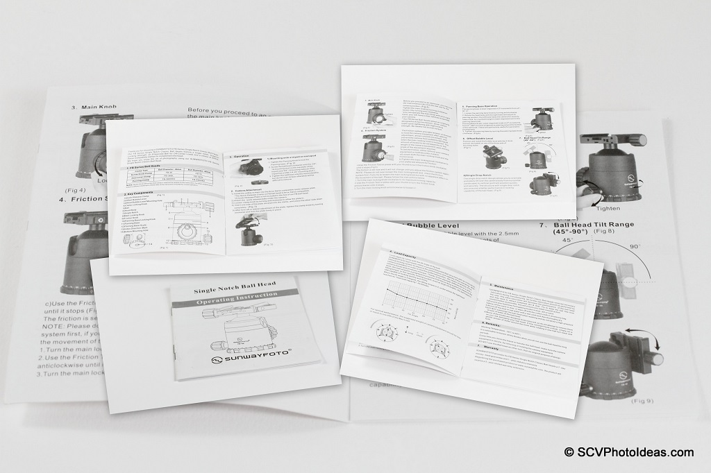 Sunwayfoto FB Series Operation Instructions multipage manual