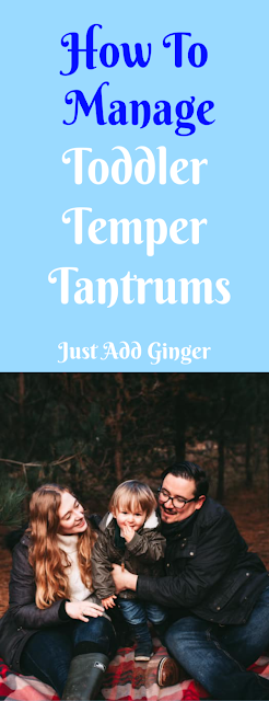 pinterest pin image from just add ginger - how to manage temper tantrums