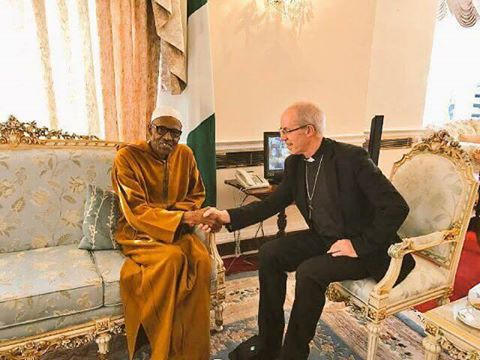 Buhari Receives Justin Welby, Archbishop of Canterbury, In Abuja House, London