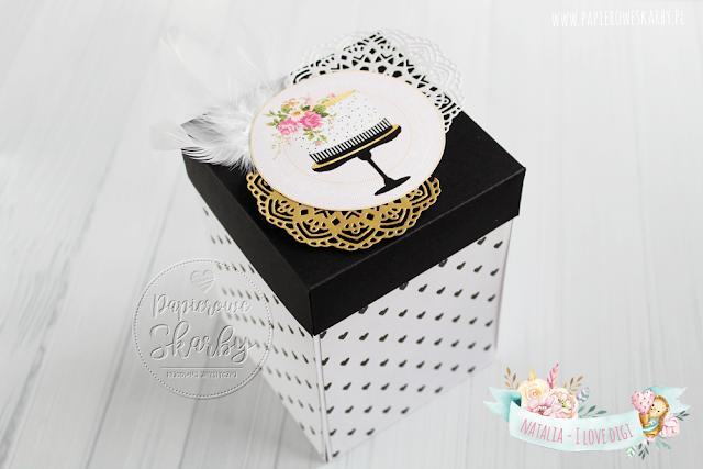 exploding box eksplodujące pudełko na ślub ślubne kartka gratulacyjna cyfrowe stemple wielki gatsby