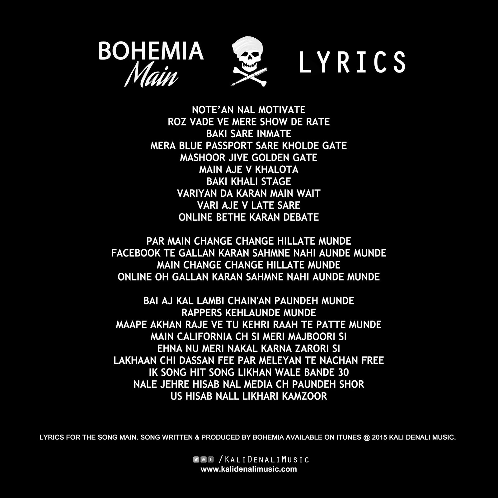 BOHEMIA - Main Latest Song Lyrics 2015 [Single] | Bohemia ...