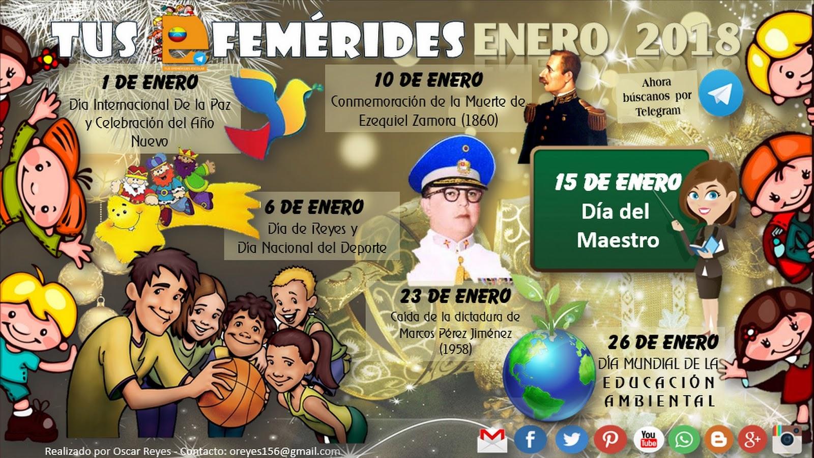 TUS EFEMÉRIDES DE VENEZUELA ENERO 2018