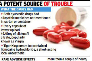 Viagra, anaesthetic found in ayurvedic potency pills