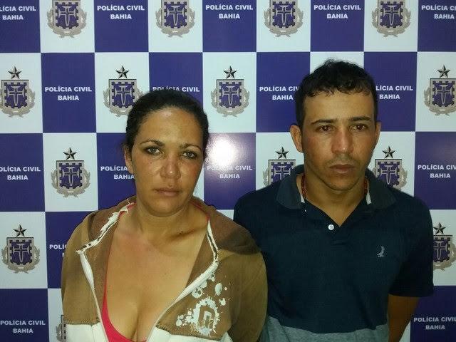 Foto dos suspeitos de tráfico de drogas, uma mulher e um homem