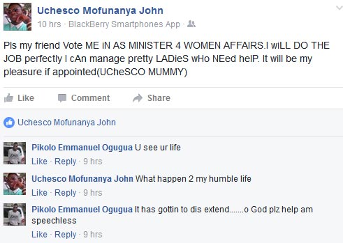 "Facebook user explains why he should be ""voted"" as Nigeria's minister of Women Affairs"