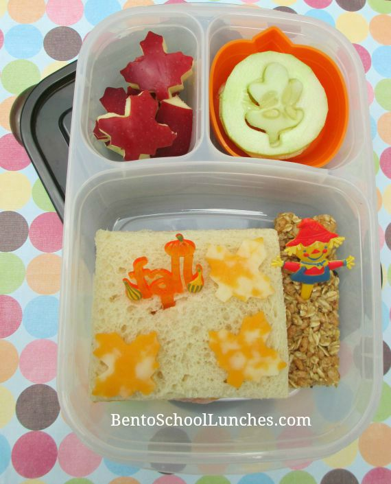 Fall leaves bento lunch.