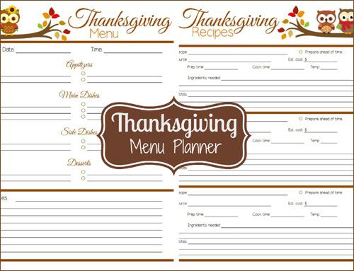 Printable Thanksgiving Menu Planner