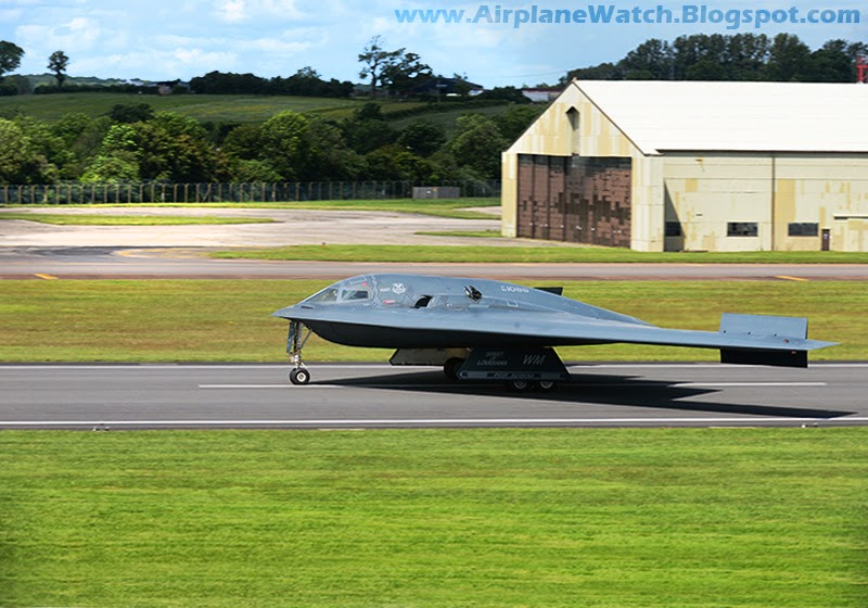 B-2 Strategic Stealth Bomber landing at RAF Faiford UK June 2014