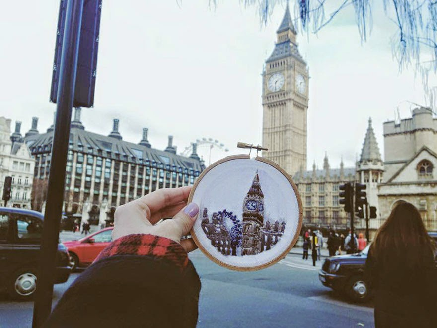London, Big Ben - Sew Wanderlust: Designer Embroiders Her Travels On-Site Instead Of Taking Photos