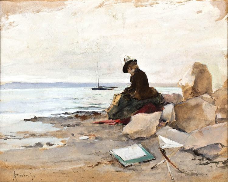 Alfred Stevens - Peintre a la plage