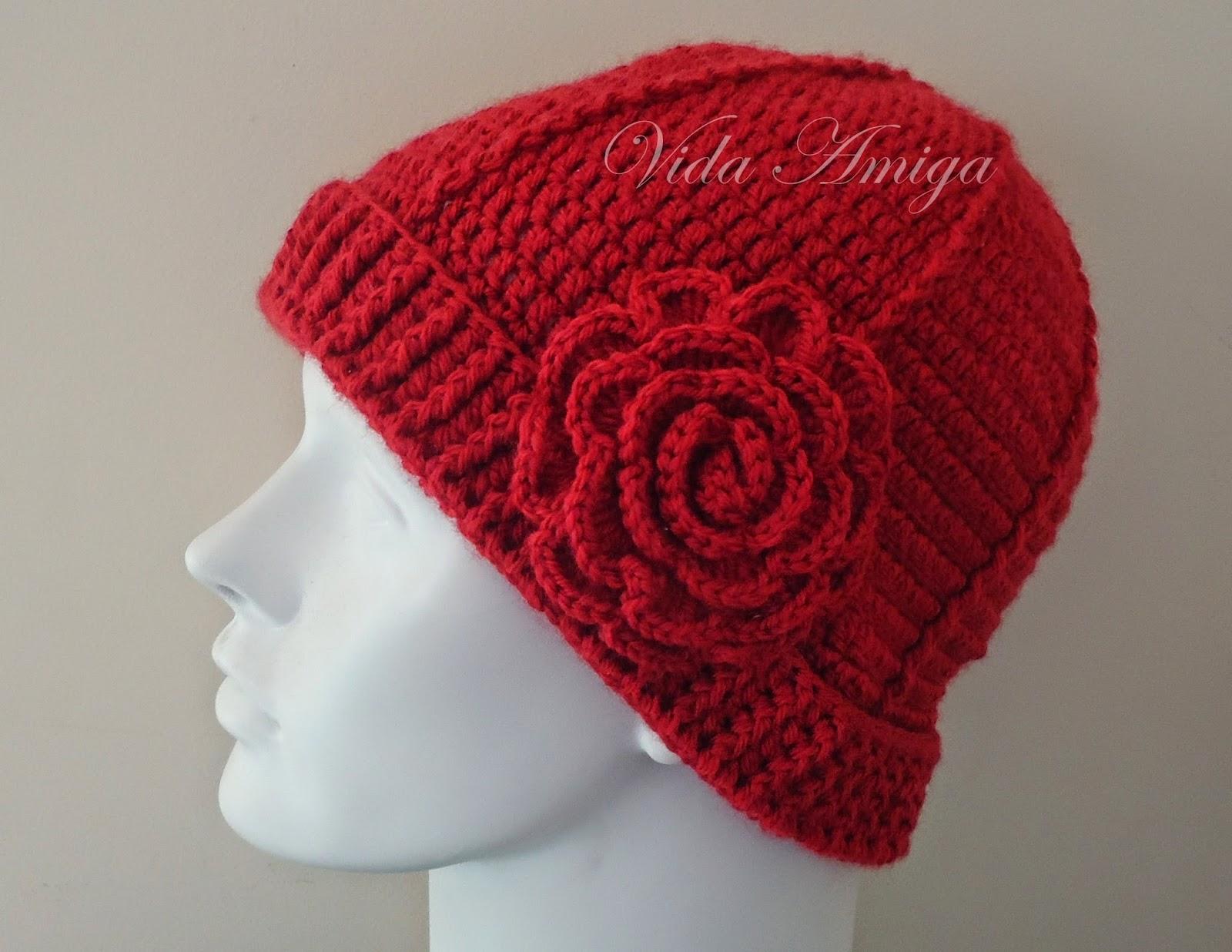 c3e78ac94f0cb Vida Amiga Presentes  Touca Crochê com Flor - Vermelho