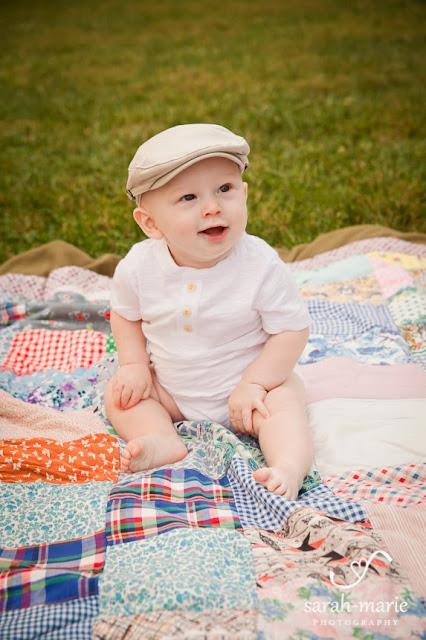 6 month old on vintage quilt