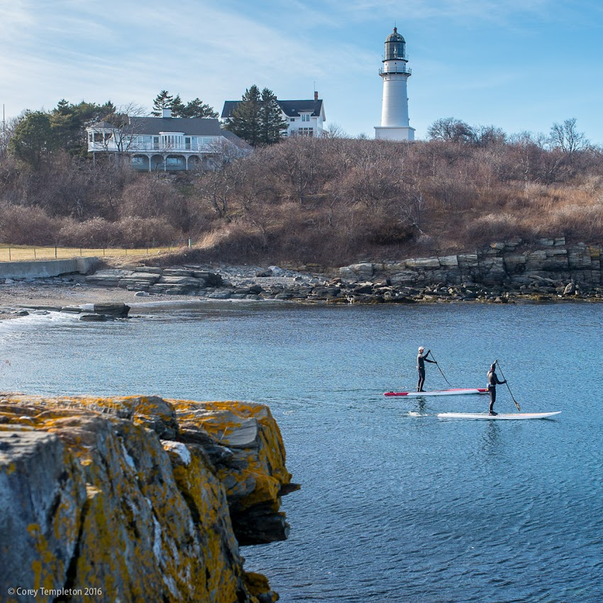 Saw some paddle boarders heading out from Two Lights in Cape Elizabeth this afternoon.  It looks pretty calm in this picture but there were some impressive waves coming in.