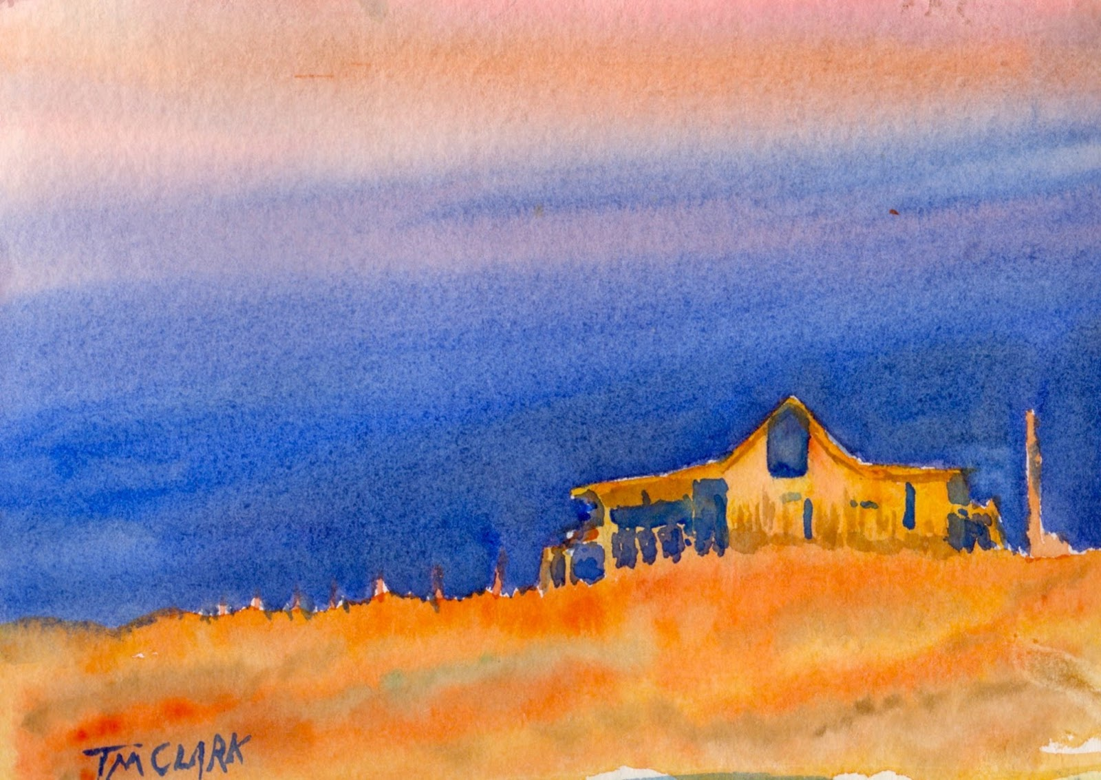Coffee With Clark Oklahoma Sunset Challenge Watercolor