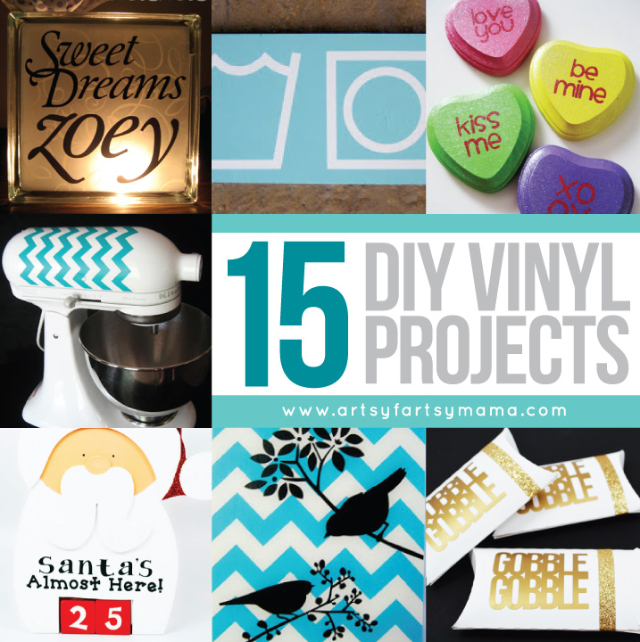 15 DIY Vinyl Projects at artsyfartsymama.com #vinyl #silhouette