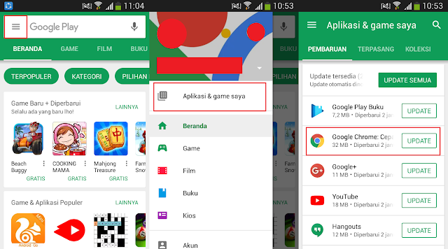 Cara Update Google Chrome di Android