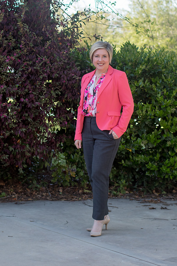 Coral and grey spring office outfit