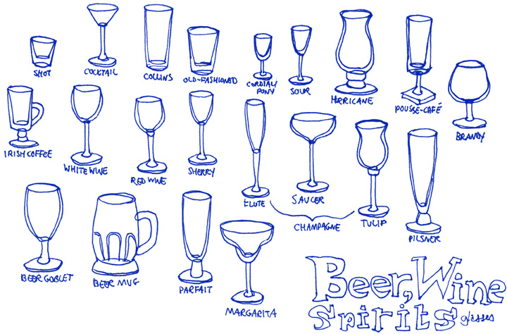 Different Plastic Cocktail Glasses